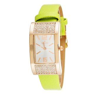 Via Nova Women's Rose Case / Green Strap CZ Zirconia Watch