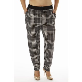 Golden Black Women's Plus Size PLaid Printed Knitted Joggers Pants