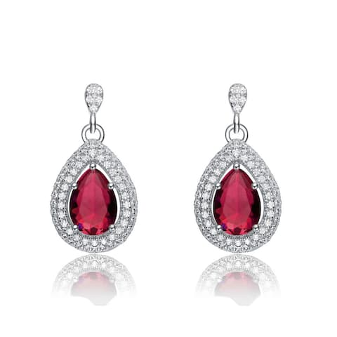 Collette Z Sterling Silver Red and White Cubic Zirconia Pear Drop Earrings