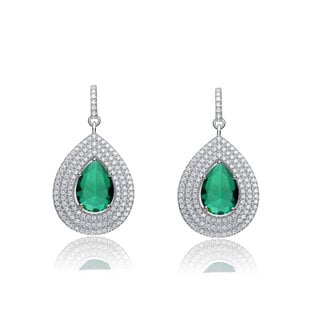 Collette Z Sterling Silver Green and White Cubic Zirconia Pear Drop Earrings