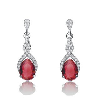 Collette Z Sterling Silver Red and White Cubic Zirconia Oval Twisted Earrings