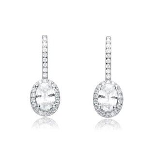 Collette Z Sterling Silver Cubic Zirconia Oval Drop Earrings