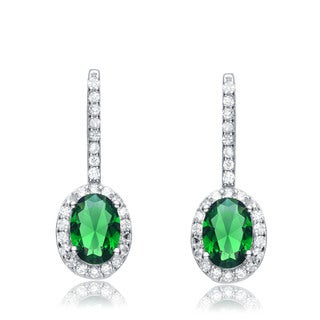 Collette Z Sterling Silver Green and White Cubic Zirconia Oval Drop Earrings