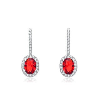 Collette Z Sterling Silver Red and White Cubic Zirconia Oval Drop Earrings