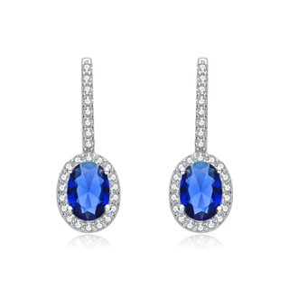 Collette Z Sterling Silver Blue and White Cubic Zirconia Oval Drop Earrings