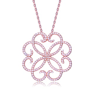Collette Z Rose-plated Sterling Silver Pave-set Cubic Zirconia Necklace