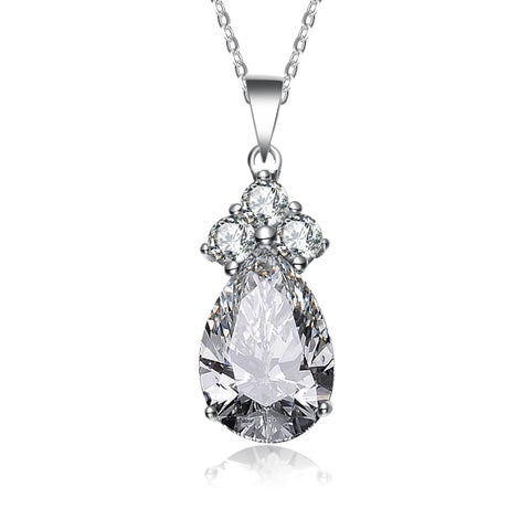Collette Z Sterling Silver Cubic Zirconia Pear Shape Necklace - White