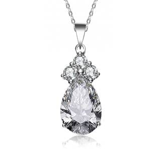 Collette Z Sterling Silver Cubic Zirconia Pear Shape Necklace