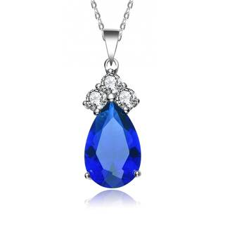 Collette Z Sterling Silver Blue and White Cubic Zirconia Pear Shape Necklace