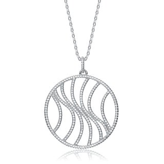 Collette Z Sterling Silver Cubic Zirconia Pave-set Round Curve Necklace - White