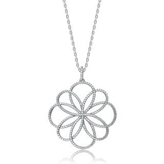 Collette Z Sterling Silver Cubic Zirconia Pave-set Flower Necklace