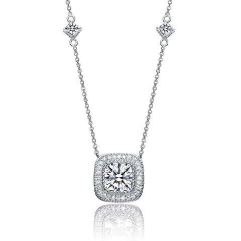 Collette Z Sterling Silver Cubic Zirconia Square Shape Necklace - White