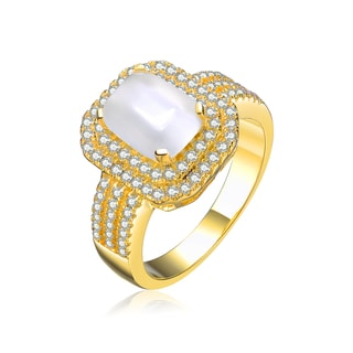 Collette Z Goldplated Sterling Silver Cubic Zirconia Rectangle Ring
