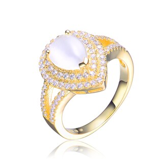 Collette Z Goldplated Sterling Silver Cubic Zirconia Pear Ring (Size 6)