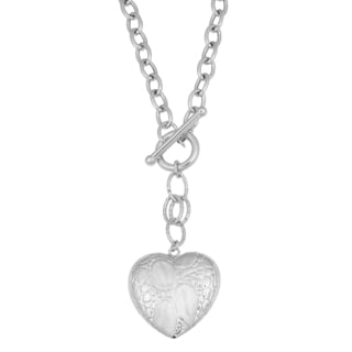 Argento Italia Rhodium-plated Sterling Silver Fancy Puffed Heart Toggle Necklace