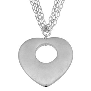 Argento Italia Rhodium-plated Sterling Silver Matte Finished Heart Necklace