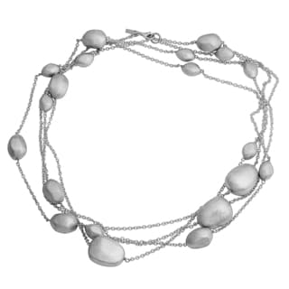 Argento Italia Rhodium-plated Sterling Silver 84-inch Bold Brushed Bead Nuggets Necklace
