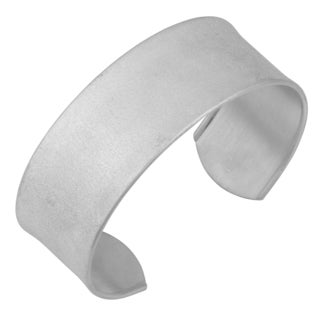 Argento Italia Rhodium Plated Sterling Silver 7 5 Inch Laser Textured Cuff Bangle
