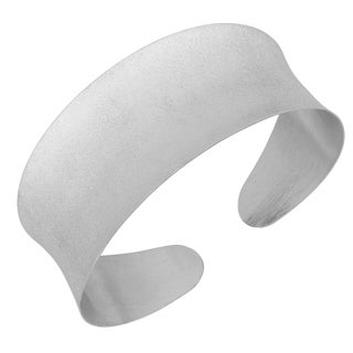 Argento Italia Rhodium-plated Sterling Silver 7.5-inch Satin Finished Cuff Bangle