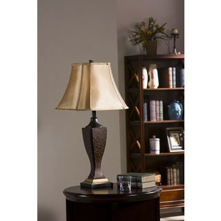 Crackle / Brown Finish Table Lamps (Set of 2)