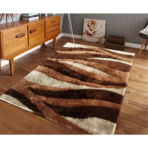 Hand-tufted Brown Shag Area Rug (5' x 7')