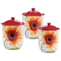 Certified International Paris Sunflower 3 Piece Canister Set