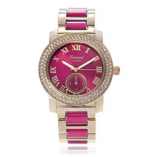 Geneva Platinum Rhinestone Link Band Watch
