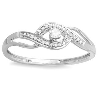 Elora 10k White Gold Diamond Bridal Promise Ring 0.15 Carat (ctw)