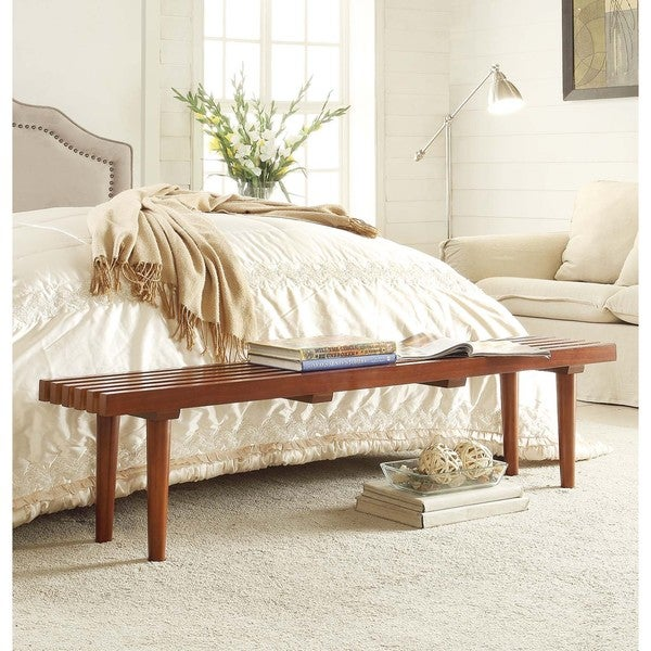 Havenside Home Pine Slat Bench - Free Shipping Today - Overstock.com ...
