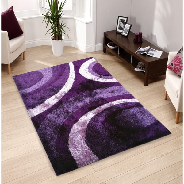 Hand-tufted Purple Shag Area Rug - 5' x 7'
