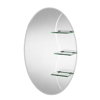 Coniston Beveled Edge Oval Wall Mirror with Shelves and Hang 'N' Lock