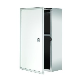 Croydex Trent Lockable Surface Mount Medicine Cabinet Only in Stainless Steel with Keys