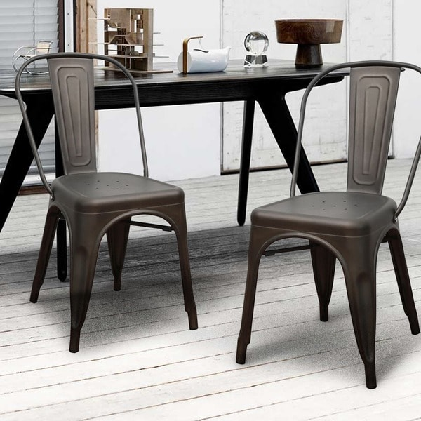 Metal Stackable Industrial Chic Dining Chair Set of 2