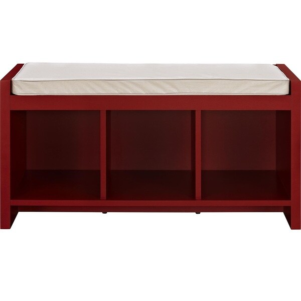 Ameriwood Home Penelope Red Entryway Storage Bench With Cushion   Free  Shipping Today   Overstock.com   17260836