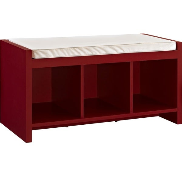 Exceptional Ameriwood Home Penelope Red Entryway Storage Bench With Cushion   Free  Shipping Today   Overstock.com   17260836