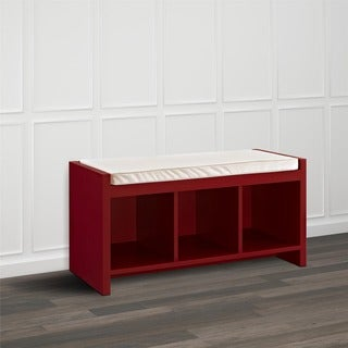 Ameriwood Home Penelope Red Entryway Storage Bench with Cushion