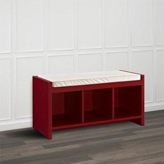 Avenue Greene Birchmont Red Entryway Storage Bench with Beige Cushion