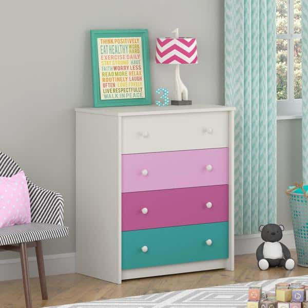 Shop Altra Kaleidoscope Girls 4 Drawer Bedroom Chest By Cosco Overstock 10122543