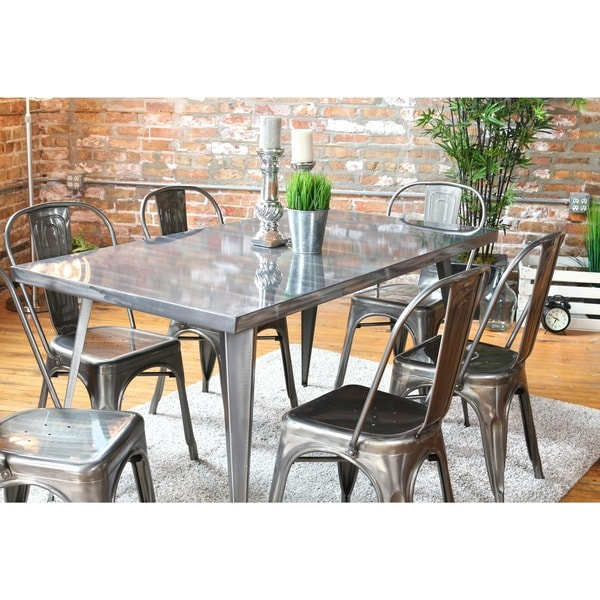 Austin Industrial Metal Dining TableAustin Industrial Metal Dining Table   Free Shipping Today  . Metal Dining Room Table Sets. Home Design Ideas