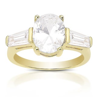 Dolce Giavona Sterling Silver Cubic Zirconia Engagement Ring