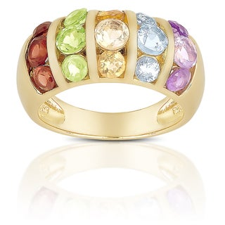 Dolce Giavonna Sterling Silver Multi Gemstone Ring