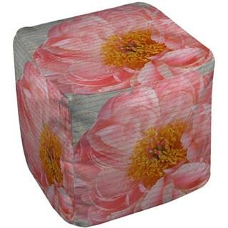 Pink Rose Cursive Pouf