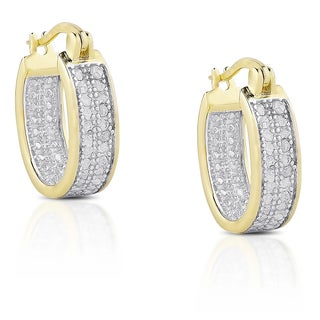 Finesque Sterling Silver Diamond Accent Hoop Earrings (3 options available)