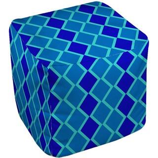 Thumbprintz Neon Party Blue Geo Pattern - Pouf