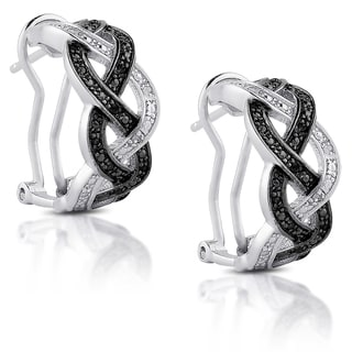 Finesque Sterling Silver Black and White Diamond Accent Infinity Design Hoop Earrings