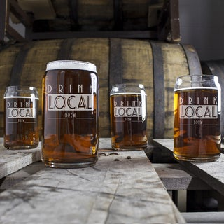 Drink Local Craft Beer Can Glasses
