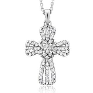Rhodium-plated Cubic Zirconia Fancy Cross Necklace