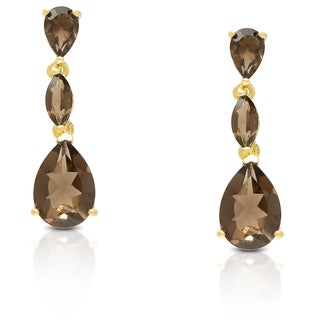 Dolce Giavonna Gold Over Sterling Silver Smokey Quartz Dangling Teardrop Earrings