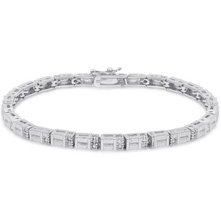 Finesque Silver Overlay Diamond Accent Bracelet (I-J, I2-I3)