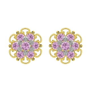 Lucia Costin Gold Over Silver Lilac Crystal Stud Earrings